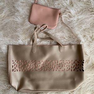 Gold & Blush Tote Bag with Zip Up Bag NWOT
